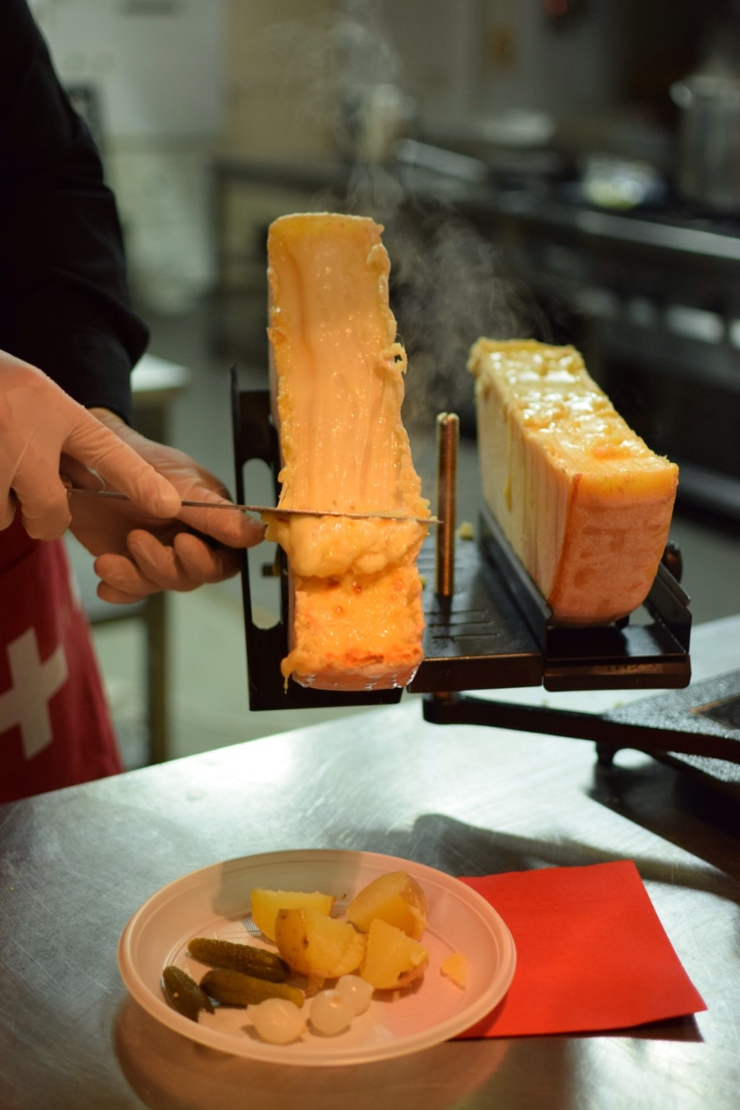 3. Serving the Raclette cheese, organised by the Swiss Embassy in Republic of Serbia
